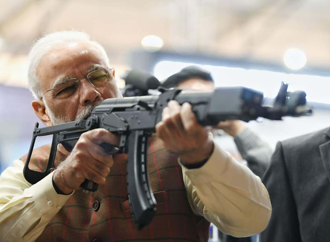 PM Narendra Modi Shoot Assault Rifle At DefExpo 2020
