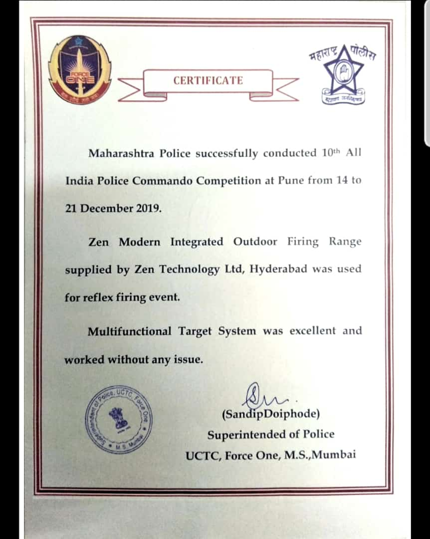 Certificate from Force One, Maharashtra Police